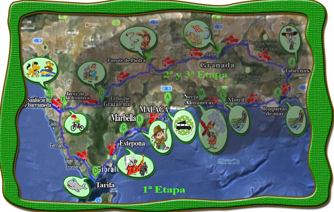 Mapa aventura camper con niños Andalucia