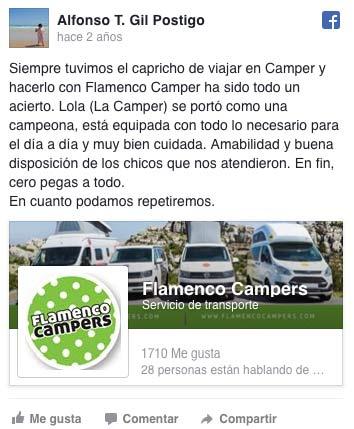Alfonso recomienda nuestras furgonetas camper