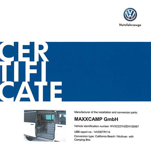certificadomaxxcamp 0 - Flamenco Campers distribuidor oficial de MAXXCAMP en España
